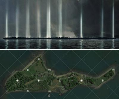 """New Light Installation Unveiled to Raise Awareness for Hart Island, Bronx, NYC.  """"Hart Island has always exerted a visceral gravitational pull for me. It is literally an 'isle of the dead' - one thinks of the famous painting by Arnold Bocklin. It is strictly off limits to the public. The intention of the project is to make a sacred space created with light, that would honor the interned, the known and unknown."""" stated John Beckmann, the founder of Axis Mundi. © 2020 Axis Mundi Design LLC"""