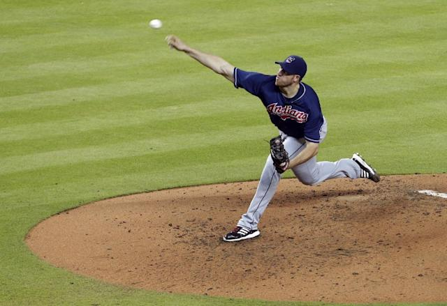 Cleveland Indians starting pitcher Zach McAllister throws in the fifth inning during an interleague baseball game against the Miami Marlins, Saturday, Aug. 3, 2013, in Miami. (AP Photo/Lynne Sladky)