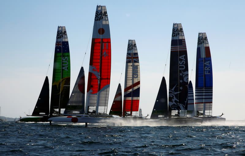FILE PHOTO: SailGP Teams compete during the start of the day one of the SailGP event in Marseille