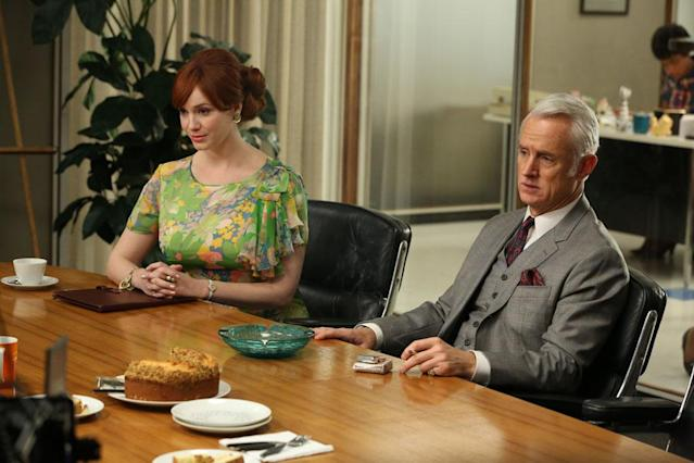 "Joan Harris (Christina Hendricks) and Roger Sterling (John Slattery) in the ""Mad Men"" episode, ""A Tale of Two Cities."""