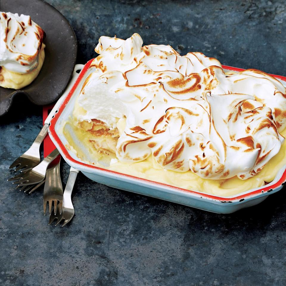 """To check if your meringue is stiff, lift the beaters out of the bowl and upend them: The peaks should stick straight up. <a href=""""https://www.epicurious.com/recipes/food/views/banana-meringue-pudding-51235890?mbid=synd_yahoo_rss"""" rel=""""nofollow noopener"""" target=""""_blank"""" data-ylk=""""slk:See recipe."""" class=""""link rapid-noclick-resp"""">See recipe.</a>"""