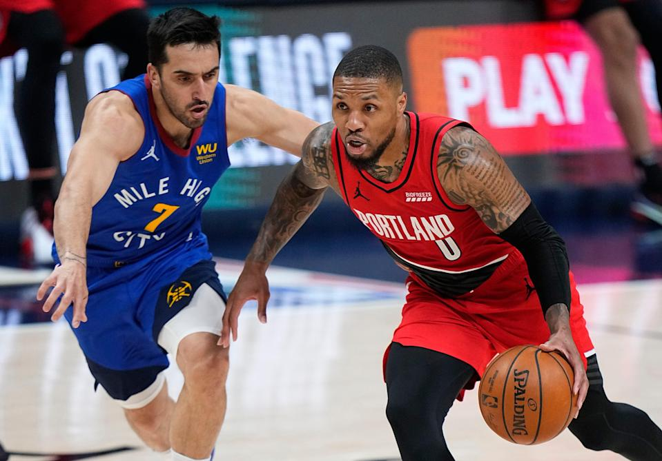 Nuggets guard Facundo Campazzo (7) has been a pesky defender against Blazers guard Damian Lillard in their first-round playoff series.