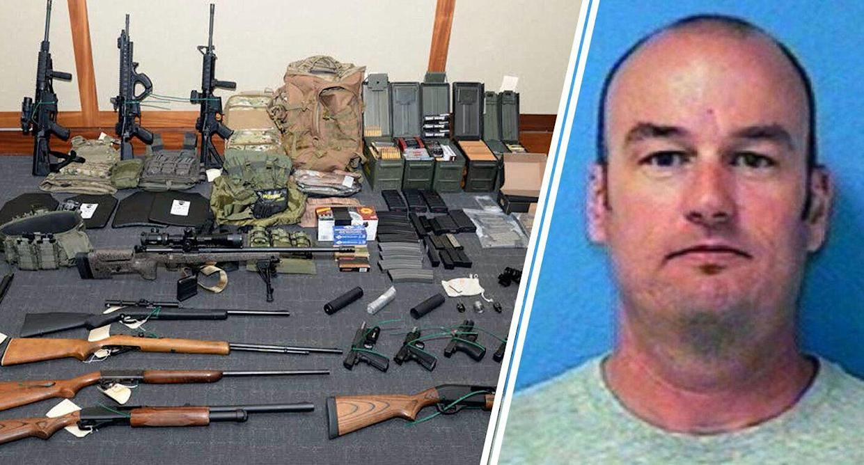 Left, firearms and ammunition cited in the motion for detention pending trial in the case against Christopher Paul Hasson, right. (Photos: U.S. District Court via AP/U.S. Attorney's Office for the District of Maryland)