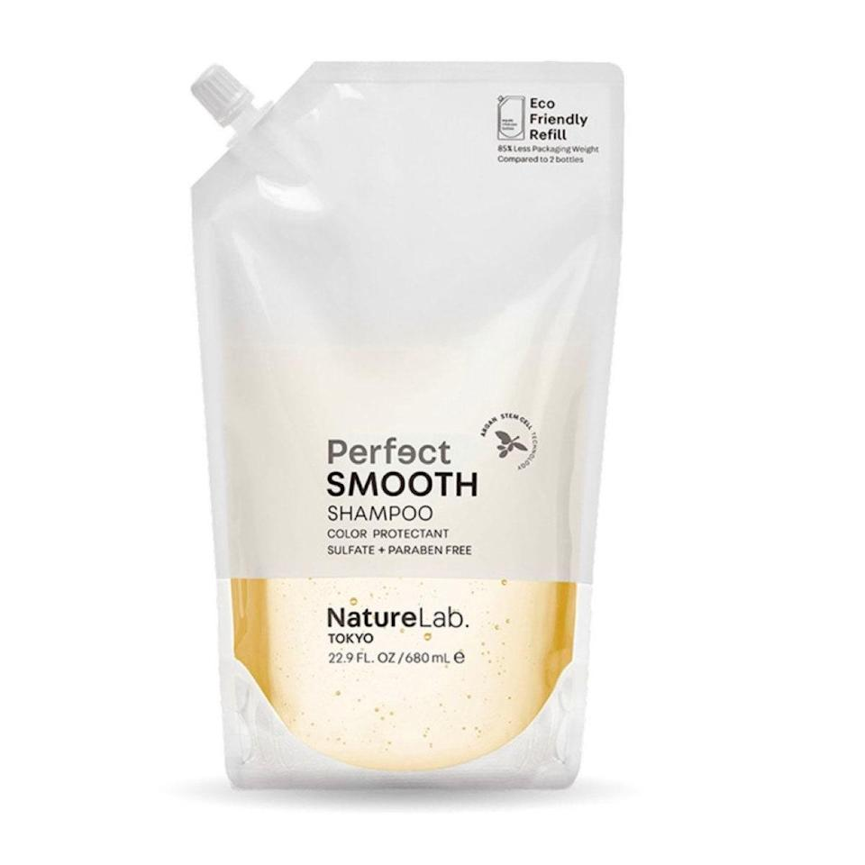 "NatureLab Tokyo offers refill pouches for all its shampoos and conditioners, like this smoothing formula that adds moisture without weight. $23, NatureLab. Tokyo. <a href=""https://shop-links.co/1738306604341479097"" rel=""nofollow noopener"" target=""_blank"" data-ylk=""slk:Get it now!"" class=""link rapid-noclick-resp"">Get it now!</a>"