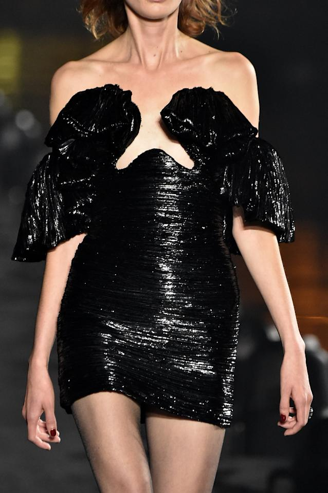 <p>A dress with an inverted heart-shape neckline from Saint Laurent's Spring/Summer 2020 runway.</p>