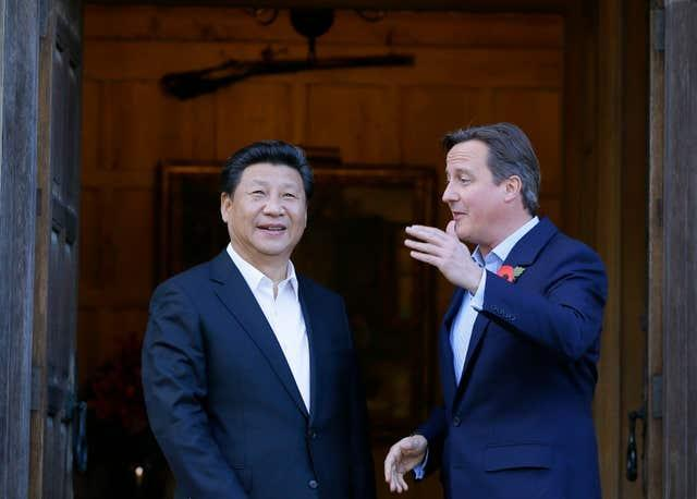 Then prime minister David Cameron welcomes Chinese President Xi Jinping to his Buckinghamshire country retreat Chequers (Kirsty Wigglesworth/PA)