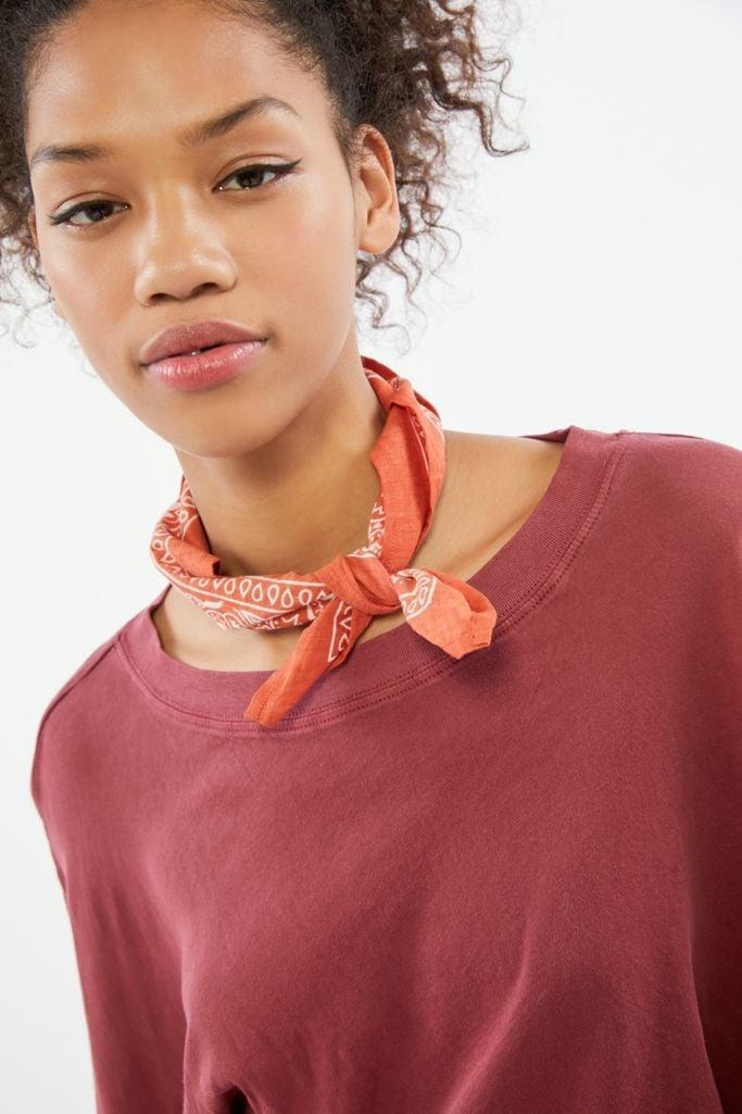 """<p>This <a href=""""urbanoutfitters.com/shop/uo-bandana"""" class=""""link rapid-noclick-resp"""" data-ylk=""""slk:UO Bandana"""">UO Bandana</a> ($10) is the perfect addition to any outfit or as an accessory to a backpack or purse.</p>"""