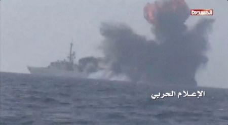 An explosion is seen onboard what is believed to be a Saudi warship, off the western coast of Yemen in this still frame taken from video posted by Houthi-run al-Masirah television