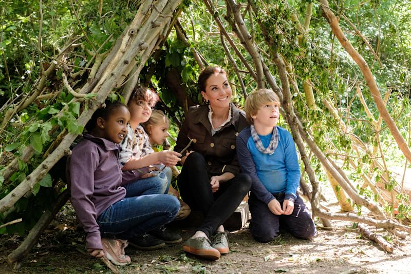 The Duchess of Cambridge joins children in the den. [Photo: BBC]