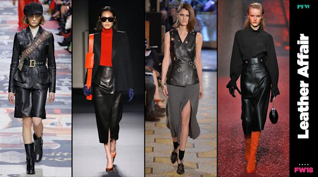Leather is everywhere at Paris Fashion Week. (Photo: Getty, Art: Quinn Lemmers)