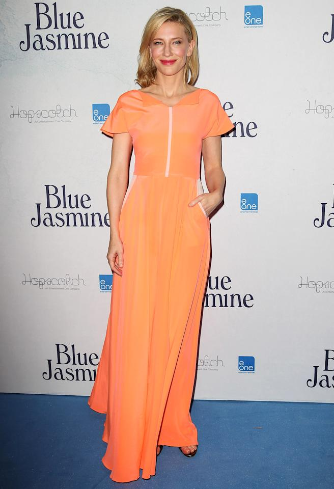 "<b>Who:</b> Cate Blanchett<br /><br /><b>Wearing:</b> Roksanda Ilincic<br /><br /><b>Where:</b> <a href=""http://movies.yahoo.com/movie/blue-jasmine/"">""Blue Jasmine""</a> premiere in Sydney"