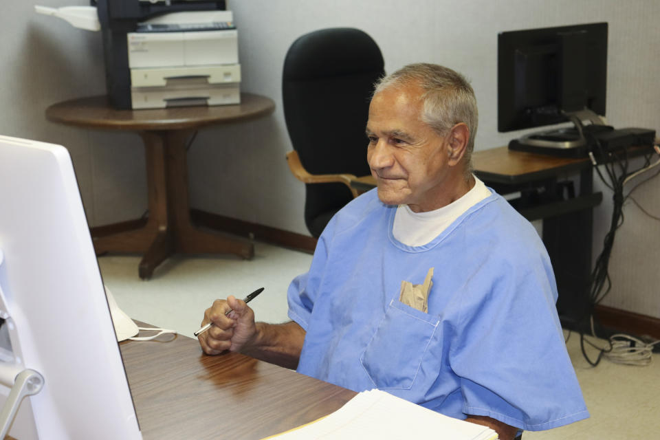 In this image provided by the California Department of Corrections and Rehabilitation, Sirhan Sirhan arrives for a parole hearing Friday, Aug. 27, 2021, in San Diego. Sirhan faces his 16th parole hearing Friday for fatally shooting U.S. Sen. Robert F. Kennedy in 1968. (California Department of Corrections and Rehabilitation via AP)