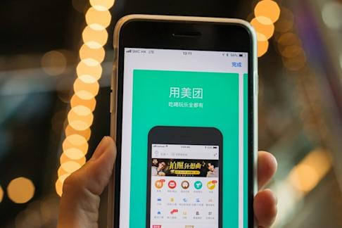 Meituan Dianping's app on Apple's App Store is seen on an iPhone. Photo: Bloomberg