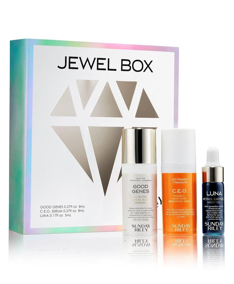 <p>Try out this luxe line for less with the <span>Sunday Riley Jewel Box Travel Size Skin Care Set</span> ($36).</p>