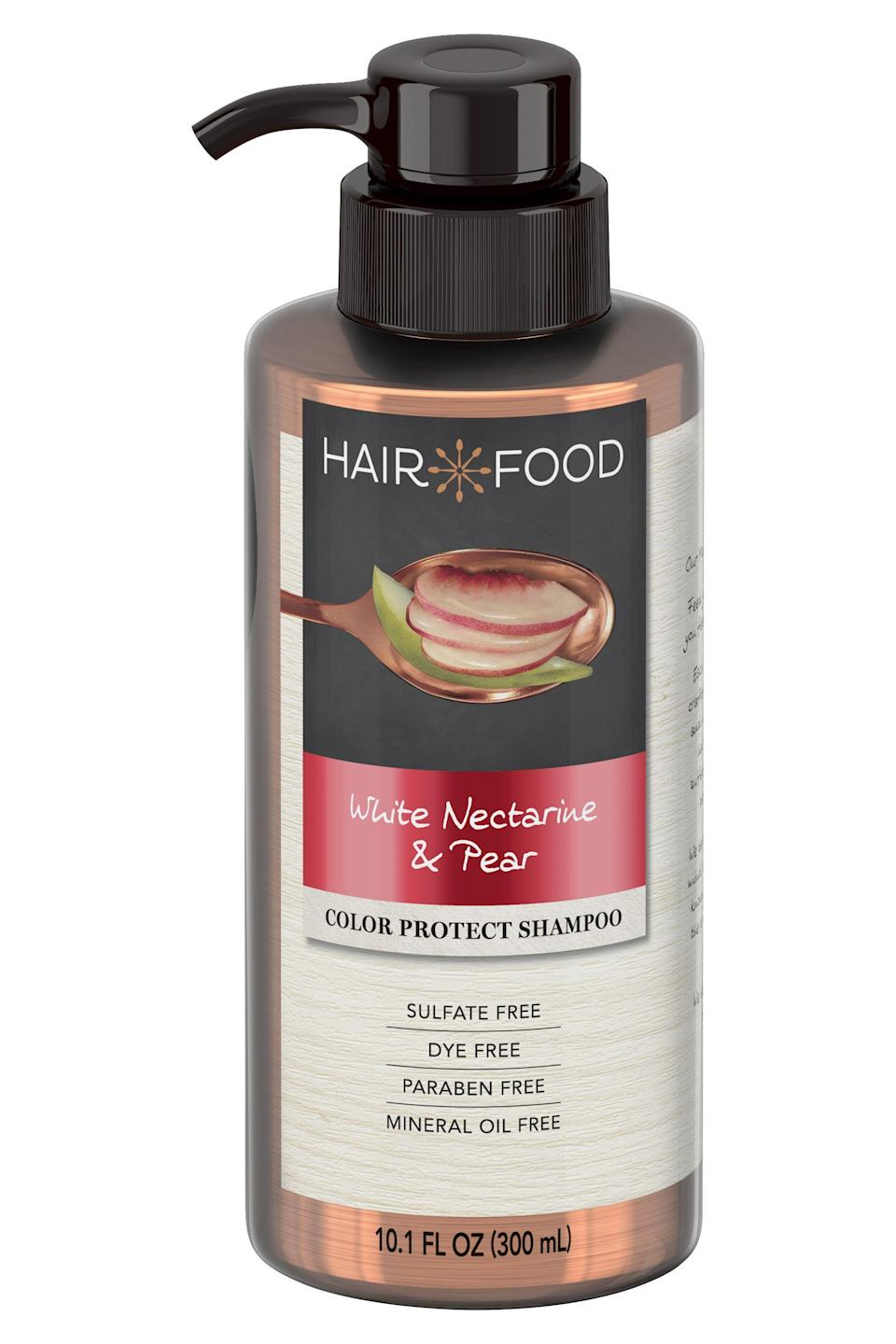 "<p><strong>Hair Food</strong></p><p><strong>$7.94</strong></p><p><a href=""https://go.redirectingat.com?id=74968X1596630&url=https%3A%2F%2Fwww.walmart.com%2Fip%2FHair-Food-Color-Protect-White-Nectarine-and-Pear-Shampoo-10-1-oz%2F786437657%3Fwmlspartner%3Dwlpa%26selectedSellerId%3D0&sref=https%3A%2F%2Fwww.goodhousekeeping.com%2Fbeauty%2Fhair%2Fg3878%2Fbest-shampoo-for-colored-hair%2F"" rel=""nofollow noopener"" target=""_blank"" data-ylk=""slk:Shop Now"" class=""link rapid-noclick-resp"">Shop Now</a></p><p>Hair Food's sulfate-free shampoo for colored hair plus its <a href=""https://go.redirectingat.com?id=74968X1596630&url=https%3A%2F%2Fwww.walmart.com%2Fip%2FHair-Food-Color-Protect-White-Nectarine-and-Pear-Conditioner-10-1-oz%2F155610337&sref=https%3A%2F%2Fwww.goodhousekeeping.com%2Fbeauty%2Fhair%2Fg3878%2Fbest-shampoo-for-colored-hair%2F"" rel=""nofollow noopener"" target=""_blank"" data-ylk=""slk:matching conditioner"" class=""link rapid-noclick-resp"">matching conditioner</a> proved the <strong>best at conditioning hair in the GH Beauty Lab's test</strong>, making it ideal for <a href=""https://www.goodhousekeeping.com/beauty-products/g26241901/best-shampoo-for-dry-hair/"" rel=""nofollow noopener"" target=""_blank"" data-ylk=""slk:dry"" class=""link rapid-noclick-resp"">dry</a>, <a href=""https://www.goodhousekeeping.com/beauty/hair/tips/a15884/fix-damaged-hair/"" rel=""nofollow noopener"" target=""_blank"" data-ylk=""slk:damaged"" class=""link rapid-noclick-resp"">damaged</a>, thick, or <a href=""https://www.goodhousekeeping.com/beauty/hair/a32733411/curl-hair-types/"" rel=""nofollow noopener"" target=""_blank"" data-ylk=""slk:textured hair"" class=""link rapid-noclick-resp"">textured hair</a>. It also earned a perfect score for being non-irritating. ""Dyeing my hair left it very dry, and I loved how moisturized it felt after just one use,"" a tester reported.<br></p>"