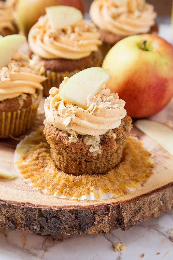 """<p>Style these cupcakes with sliced apples and crunchy crumbles.</p><p><strong><a href=""""https://www.anniesnoms.com/2016/10/04/apple-crumble-cupcakes/"""" rel=""""nofollow noopener"""" target=""""_blank"""" data-ylk=""""slk:Get the recipe at Annie's Noms"""" class=""""link rapid-noclick-resp"""">Get the recipe at Annie's Noms</a>.</strong></p>"""