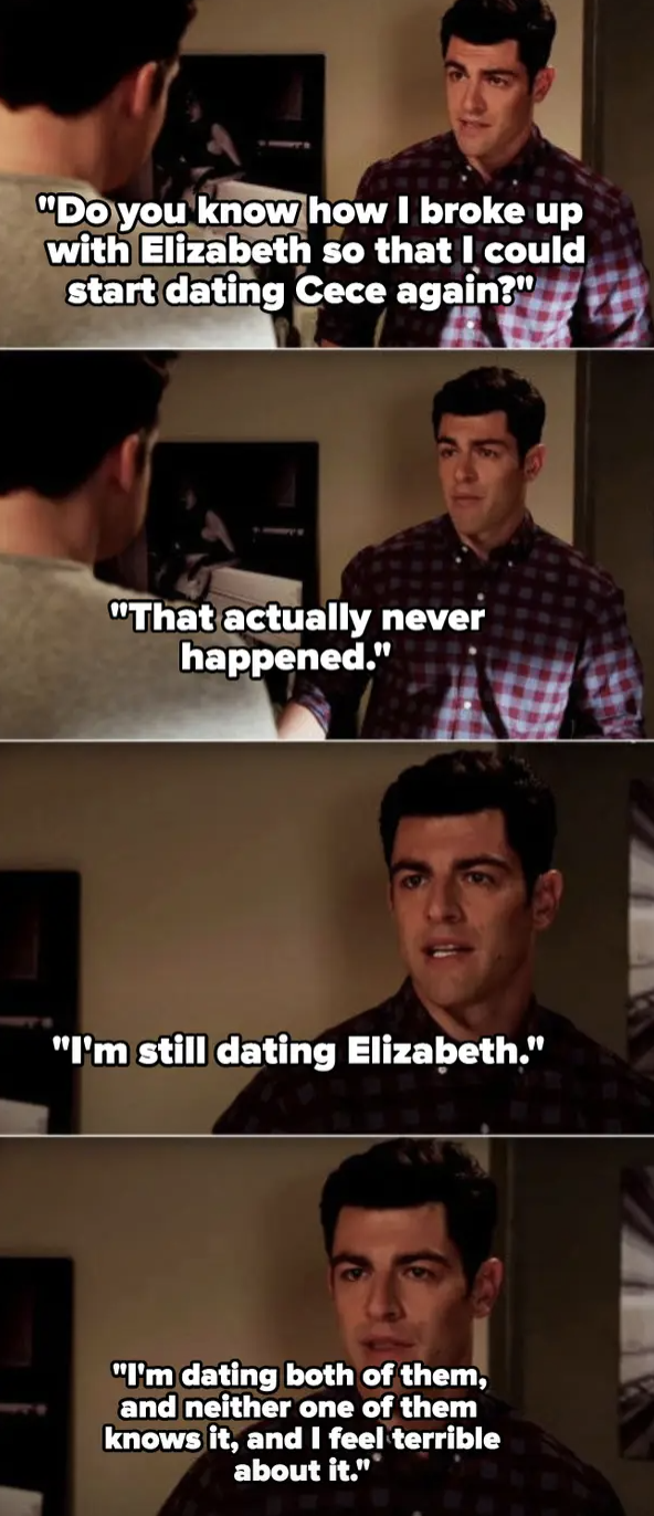 Schmidt telling Nick he cheated on Cece
