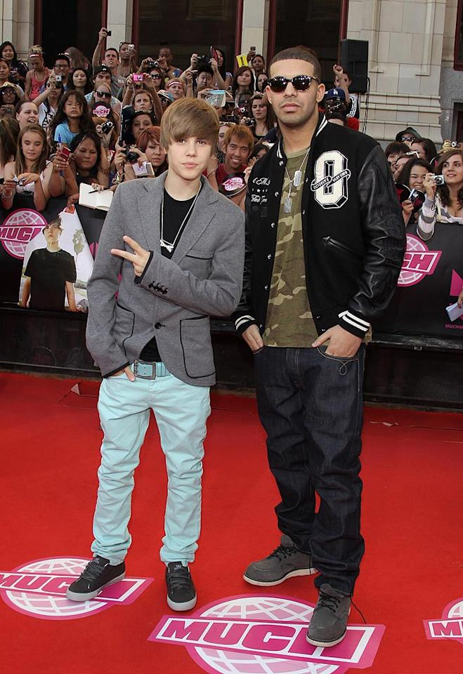 "Pop star Justin Bieber and rapper Drake, who happen to be Canadian, struck an uber-cool pose on the red carpet. George Pimentel/<a href=""http://www.wireimage.com"" target=""new"">WireImage.com</a> - June 20, 2010"