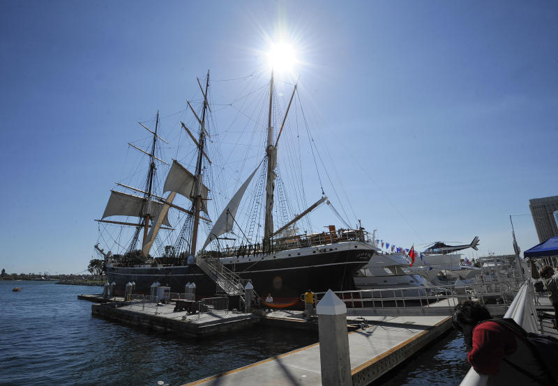 "The Star of India sits at a dock next to the San Diego Convention Center during the Preview Night event on Day 1 of the 2013 Comic-Con International Convention on Wednesday, July 17, 2013, in San Diego. The ship is decorated as a pirate ship to promote Ubisoft's ""Assassin's Creed"" video game. (Photo by Denis Poroy/Invision/AP)"