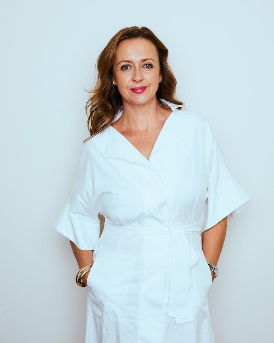 Alison Goodger from sukin and Alkira in a white dress