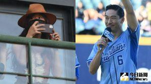 AKIRA(右)幫富邦悍將開球,老婆林志玲偷現身。| The collage shows AKIRA threw the ceremonial first pitch for Fubon Guardians (right) and Lin Chi-ling was taking photos of her husband. (NOWnews)