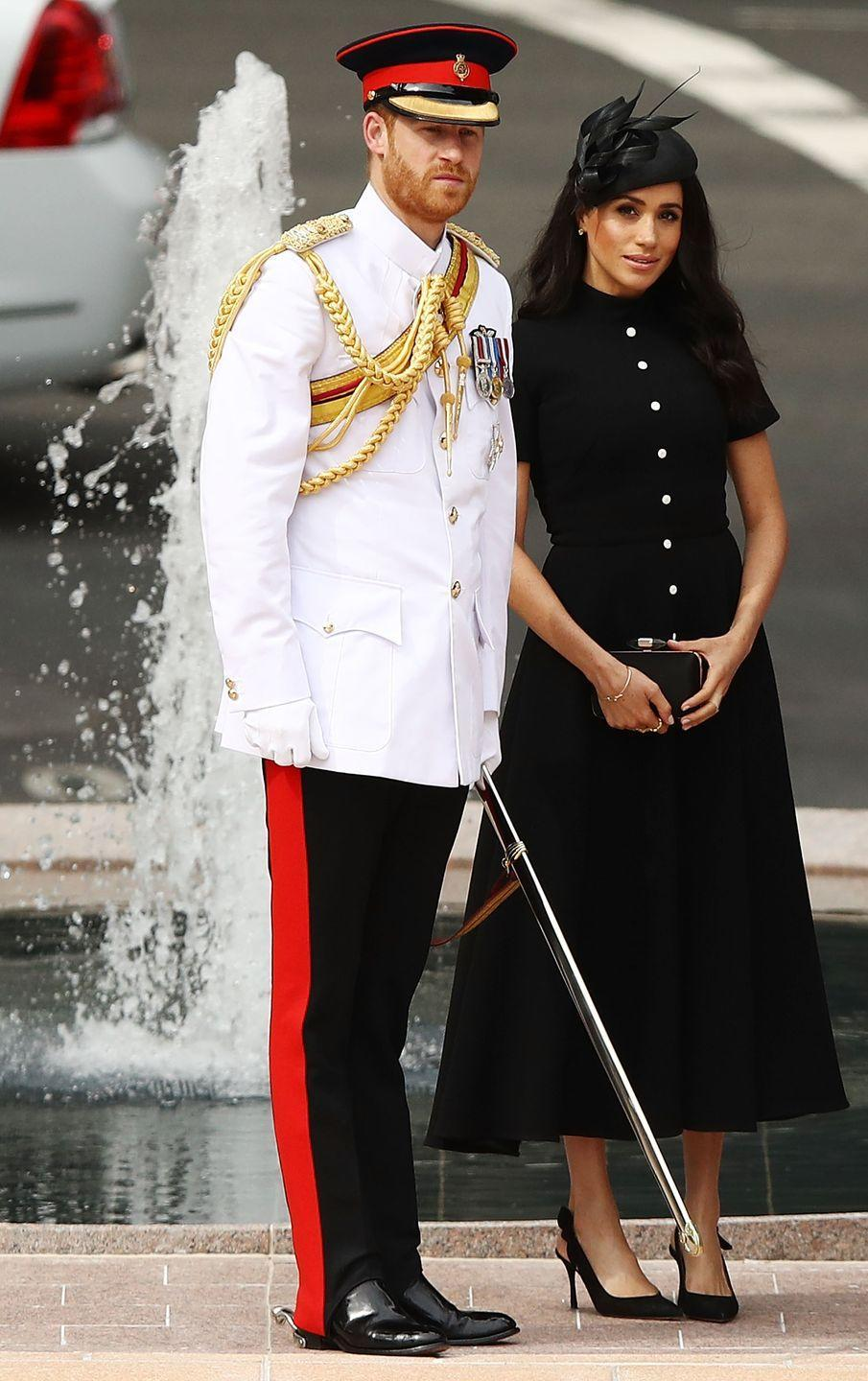 "<p>Harry and Meghan were on hand open the ANZAC memorial, which remembers Australians who served their country, during their royal tour. The Duchess wore a black Emilia Wickstead dress with Philip Treacy fascinator and Tabitha Simmons pumps. </p><p><a class=""link rapid-noclick-resp"" href=""https://go.redirectingat.com?id=74968X1596630&url=https%3A%2F%2Fwww.bloomingdales.com%2Fshop%2Fproduct%2Ftabitha-simmons-womens-millie-slingback-pointed-toe-pumps%3FID%3D2956738&sref=https%3A%2F%2Fwww.townandcountrymag.com%2Fstyle%2Ffashion-trends%2Fg3272%2Fmeghan-markle-preppy-style%2F"" rel=""nofollow noopener"" target=""_blank"" data-ylk=""slk:SHOP NOW"">SHOP NOW</a> <em>Millie Slingback Pumps by Tabitha Simmons, $695</em></p>"