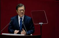 FILE PHOTO: South Korean President Moon Jae-in speaks at the National Assembly in Seoul