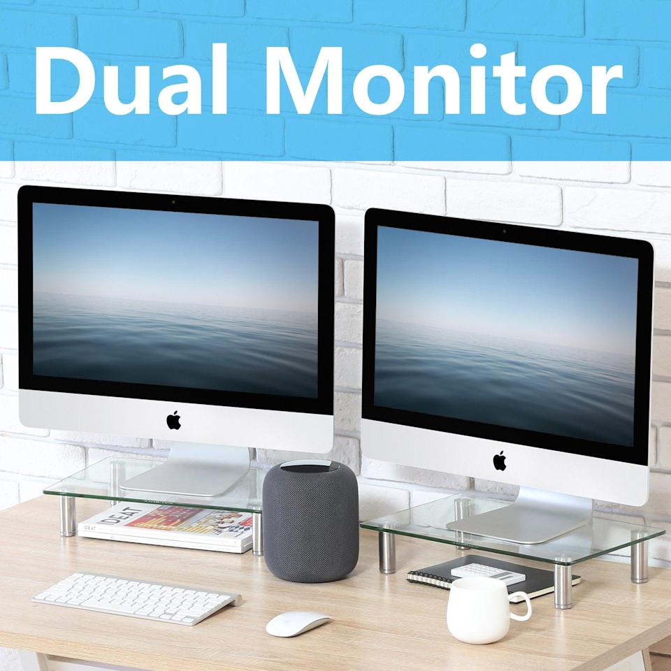"<h2>Computer Monitor Riser Stand</h2><br><br><strong>FITUEYES</strong> FITUEYES Computer Monitor Riser Stand, $, available at <a href=""https://amzn.to/3jXVU9A"" rel=""nofollow noopener"" target=""_blank"" data-ylk=""slk:Amazon"" class=""link rapid-noclick-resp"">Amazon</a>"