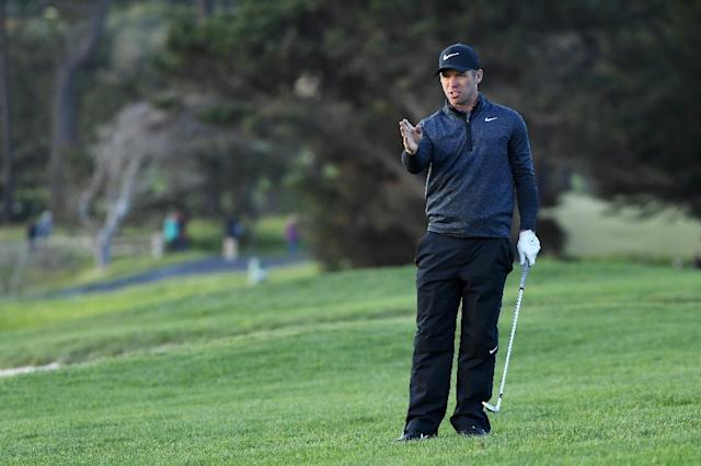 England's Paul Casey trailed Phil Mickelson by three shots with two holes to play when darkness halted play in the final round of the 2019 Pebble Beach Pro-Am (AFP Photo/Harry How)