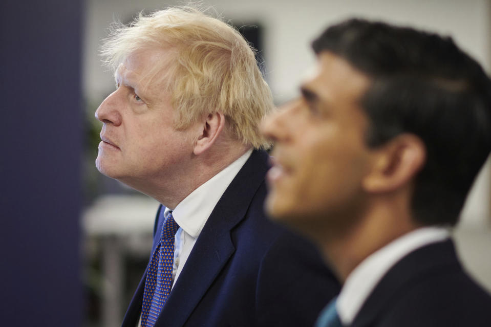 Britain's prime minister Boris Johnson, left, and chancellor of the exchequer Rishi Sunak. Photo: Leon Neal/Pool via AP