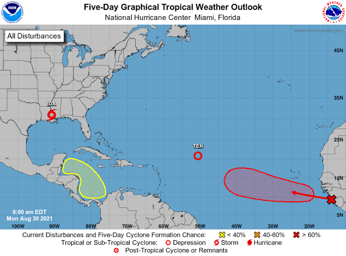 The National Hurricane Center is tracking two disturbances and a depression in the Atlantic Basin.