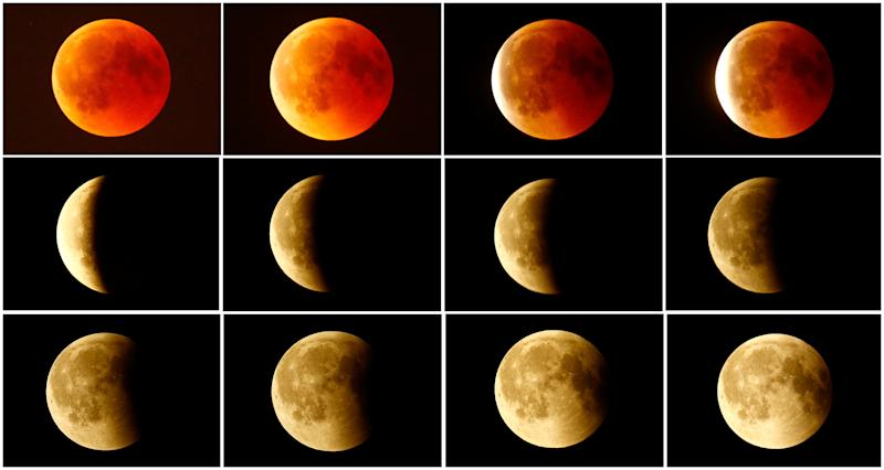 This combination photo shows the lunar eclipse from a blood moon (top left) back to full moon (bottom right) in the sky over Frankfurt, Germany. (Kai Pfaffenbach / Reuters)