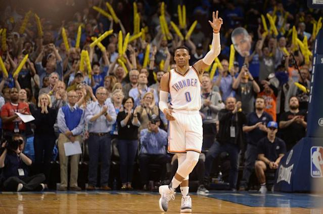 Westbrook dans l'histoire de la NBA/Photo prise le 5 avril 2017/REUTERS/� USA Today Sports / Reuters
