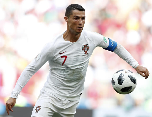 Portugal's Cristiano Ronaldo controls the ball during the group B match between Portugal and Morocco at the 2018 soccer World Cup in the Luzhniki Stadium in Moscow, Russia, Wednesday, June 20, 2018. (AP Photo/Francisco Seco)