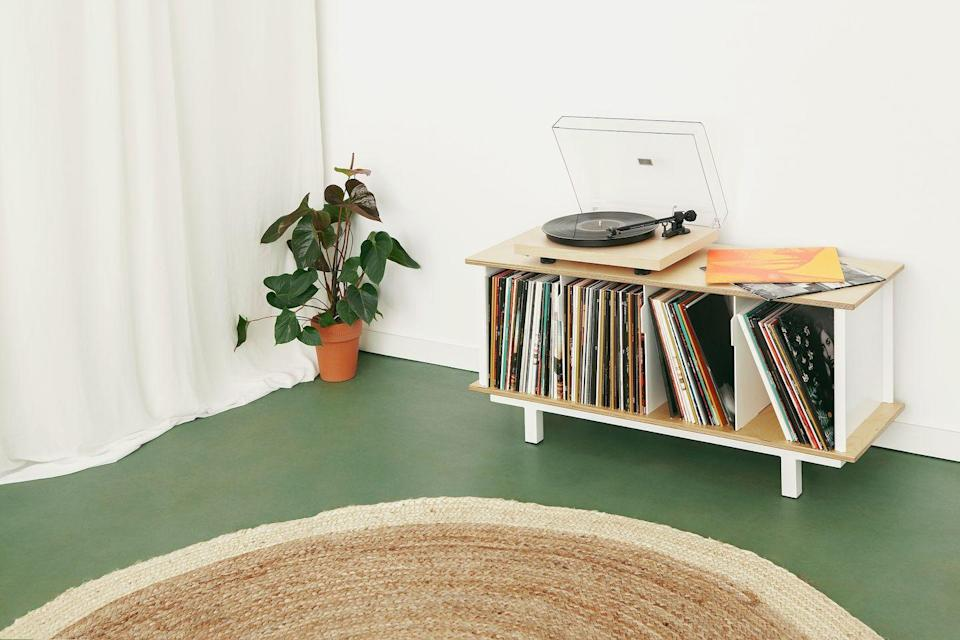 """<p> As vinyl junkies will attest, finding elegant and practical record storage is no mean feat. Enter For the Record, a new brand headed up by two avid collectors that offers an alternative to Ikea or expensive bespoke units. Made from birch shelves and aluminium panels, the sturdy design is modular, therefore grows with your collection. Plus, it comes with categorisation tabs to keep everything in order. From approx £340 <a href=""""https://fortherecord.eu/"""" rel=""""nofollow noopener"""" target=""""_blank"""" data-ylk=""""slk:fortherecord.eu"""" class=""""link rapid-noclick-resp"""">fortherecord.eu</a></p>"""