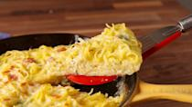 """<p>Carbs = energy, which means slow-moving mornings call for pasta. Throw leftover cooked spaghetti in a skillet with eggs, bacon and cheese for a breakfast that will seriously help you use your noodle.</p><p>Get the recipe from <a href=""""https://www.delish.com/cooking/recipe-ideas/recipes/a49146/spaghetti-frittata/"""" rel=""""nofollow noopener"""" target=""""_blank"""" data-ylk=""""slk:Delish"""" class=""""link rapid-noclick-resp"""">Delish</a>.</p>"""