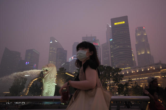 A woman wears a mask as the Singapore Central Business District is covered with haze Thursday evening, June 20, 2013. Singapore urged people to remain indoors amid unprecedented levels of air pollution Thursday as a smoky haze wrought by forest fires in neighboring Indonesia worsened dramatically. (AP Photo/Joseph Nair)