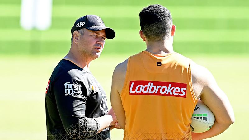 Brisbane coach Anthony Seibold is seen here at Broncos training.