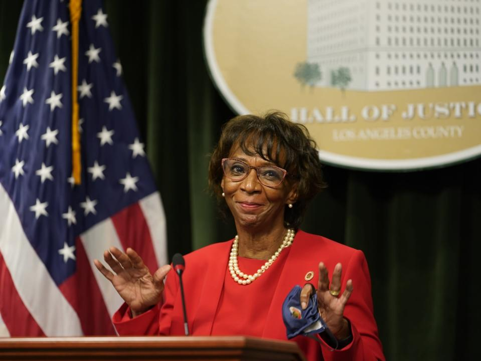Los Angeles District Attorney Jackie Lacey concedes to former San Francisco District Attorney George Gascon during a news conference at the Hall of Justice in Los Angeles, Friday, Nov. 6, 2020. (AP Photo/Damian Dovarganes)