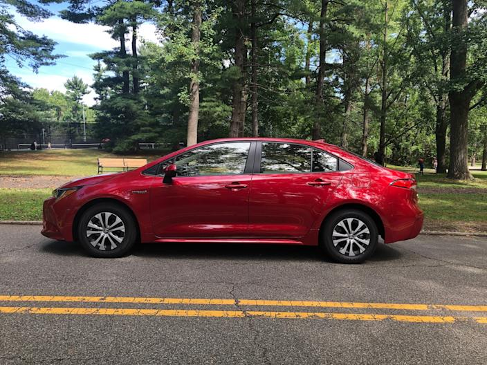"""The Corolla Hybrid isn't exactly a dazzler, styling-wise. <p class=""""copyright"""">Matthew DeBord/Insider</p>"""
