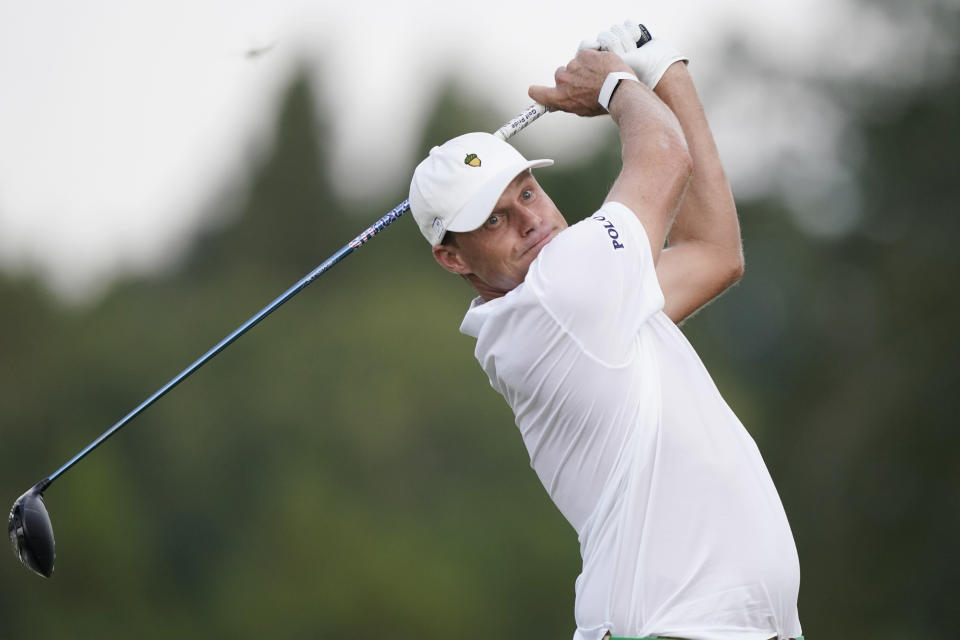 Nick Watney watches his drive from the 18th tee box during the second round of the Sanderson Farms Championship golf tournament in Jackson, Miss., Friday, Oct. 1, 2021. Watney finished the day in a three-way tie for first at 13-under. (AP Photo/Rogelio V. Solis)