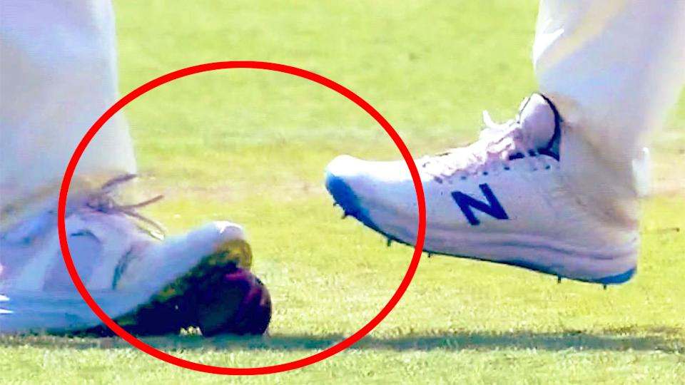 Pictured here, the image that has sparked ball-tampering accusations against England.