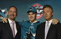 June 23, 2017; Chicago, IL, USA; Joshua Norris poses for photos after being selected as the number nineteen overall pick to the San Jose Sharks in the first round of the 2017 NHL Draft at the United Center. Mandatory Credit: David Banks-USA TODAY Sports