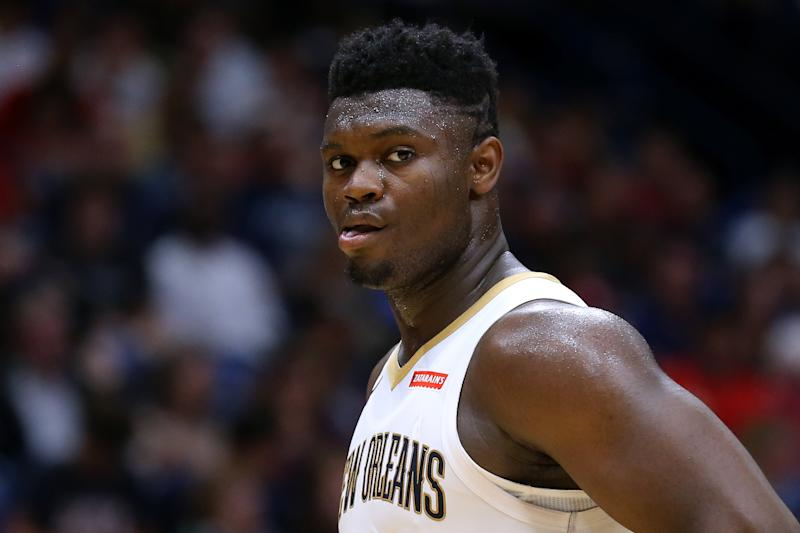 David Griffin railed against the idea that Zion Williamson is out of shape. But is that really the source of concern around the Pelicans rookie? (Jonathan Bachman/Getty Images)NEW ORLEANS, LOUISIANA - OCTOBER 11: Zion Williamson #1 of the New Orleans Pelicans reacts during a game against the Utah Jazz at the Smoothie King Center on October 11, 2019 in New Orleans, Louisiana. NOTE TO USER: User expressly acknowledges and agrees that, by downloading and or using this Photograph, user is consenting to the terms and conditions of the Getty Images License Agreement. (Photo by Jonathan Bachman/Getty Images)