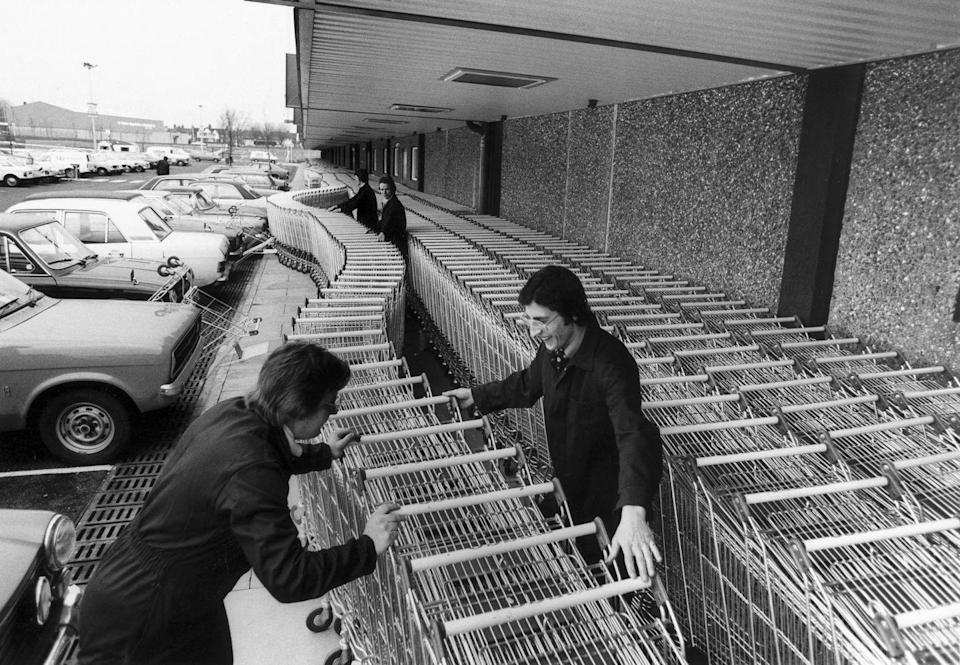 <p>Employees prepare over 2,000 shopping carts for the grand opening of a grocery store in the United Kingdom. In the UK, grocery carts are known as trolleys.</p>