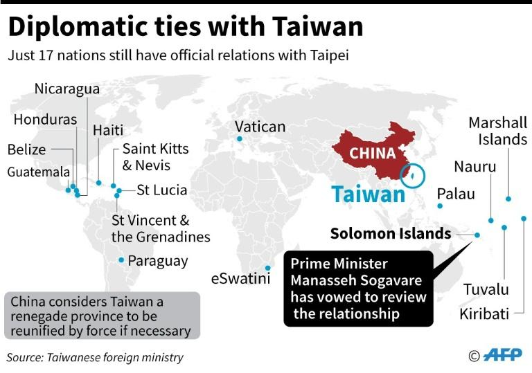 Map showing the countries that have direct diplomatic ties with Taiwan. (AFP Photo/AFP)