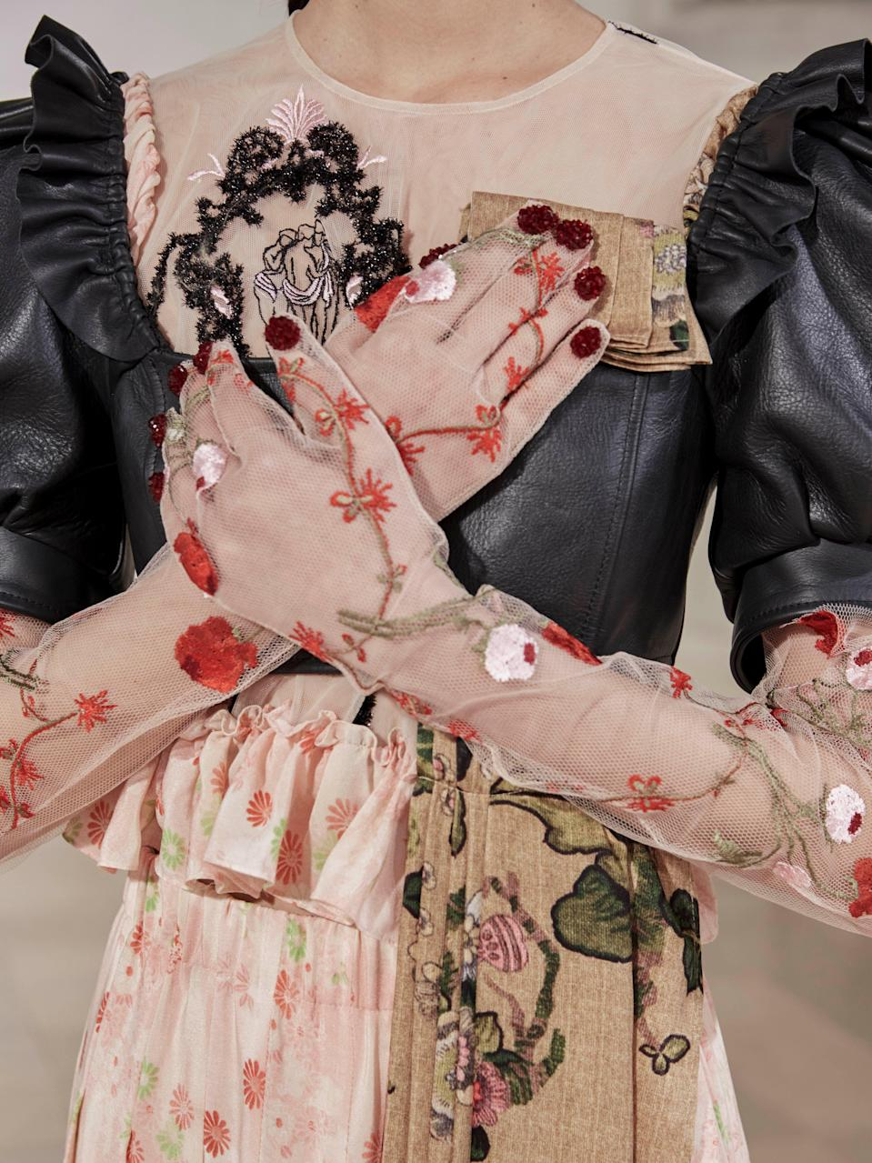 "<h2>Glorious Gloves</h2>Elbow-length gloves got the runway treatment this season. While Simone Rocha showed embroidered designs more fit for a red carpet, Miu Miu presented bright, puffer mitts that you could easily (and stylishly) hit the slopes in.<br> <br><em>Simone Rocha</em><span class=""copyright"">Photo: Courtesy of Simone Rocha.</span>"