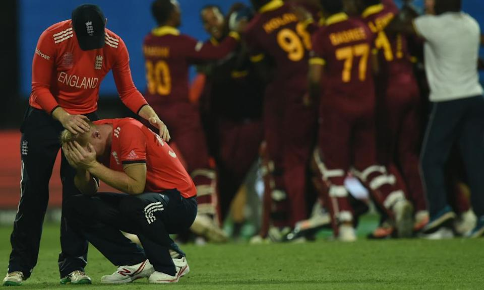 England's Ben Stokes is devastated after the astonishing finish to the 2016 final saw Carlos Brathwaite hit him for four successive sixes to win the trophy for West Indies.