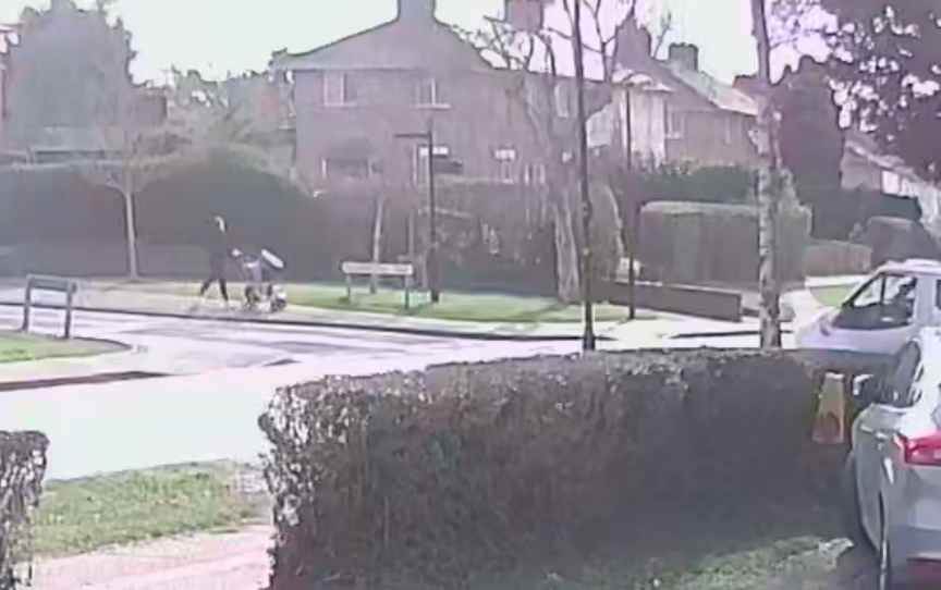 The mother was walking along a pavement in Silver End, Braintree, Essex, when the incident happened. (SWNS)