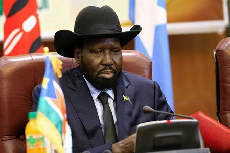 FILE PHOTO: South Sudan President Salva Kiir attends a South Sudan peace meeting as part of talks to negotiate an end to a civil war that broke out in 2013, in Khartoum, Sudan June 25, 2018. REUTERS/Mohamed Nureldin Abdallah/File Photo